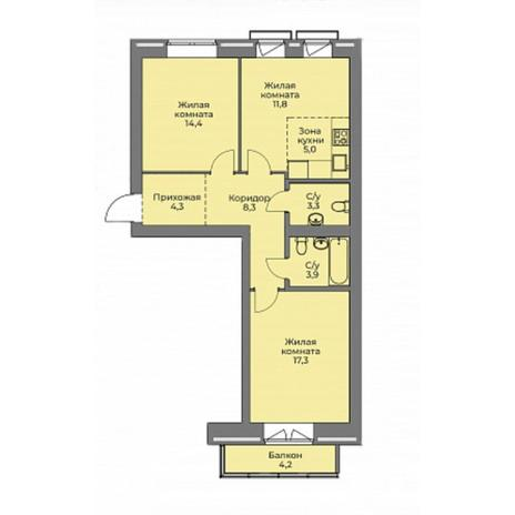 Вариант №4413, 3-комнатная квартира в жилом комплексе Эскимо