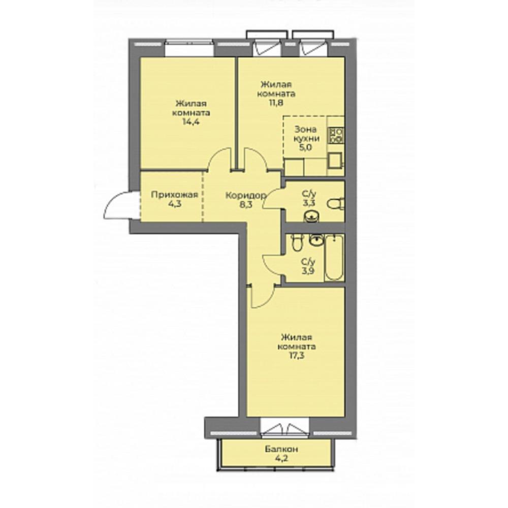 Планировка 3-комн. студия площадью 68.3 м<sup>2</sup> в ЖК Эскимо