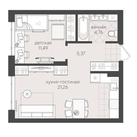 Вариант №6228, 2-комнатная квартира в жилом комплексе