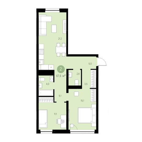 Вариант №4704, 3-комнатная квартира в жилом комплексе