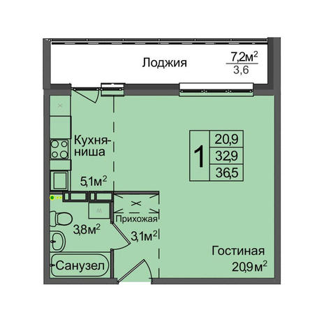Вариант №3901, 1-комнатная квартира в жилом комплексе