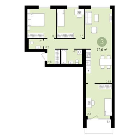 Вариант №3019, 4-комнатная квартира в жилом комплексе Европейский Берег