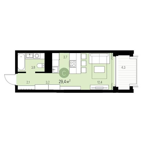 Вариант №5547, 1-комнатная квартира в жилом комплексе