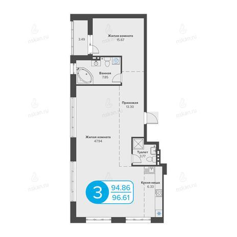 Вариант №2803, 3-комнатная квартира в жилом комплексе Огни Сибири