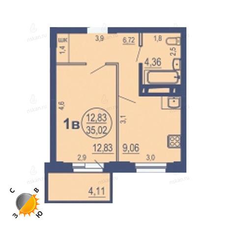 Вариант №1690, 1-комнатная квартира в жилом комплексе На Зыряновской
