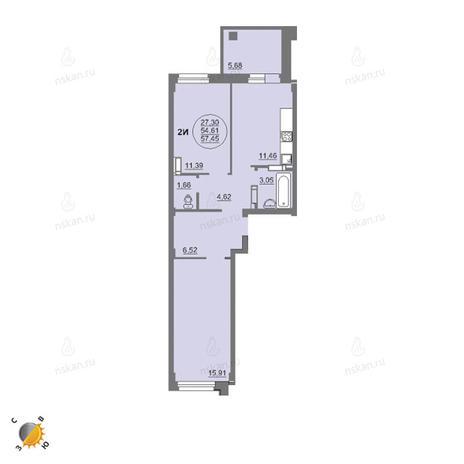Вариант №2457, 2-комнатная квартира в жилом комплексе Лето