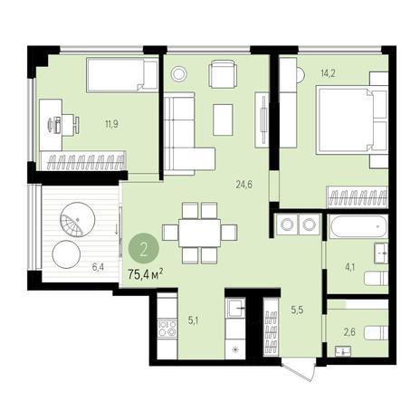 Вариант №5520, 3-комнатная квартира в жилом комплексе