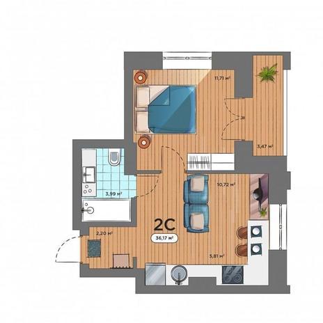 Вариант №5166, 2-комнатная квартира в жилом комплексе Галактика