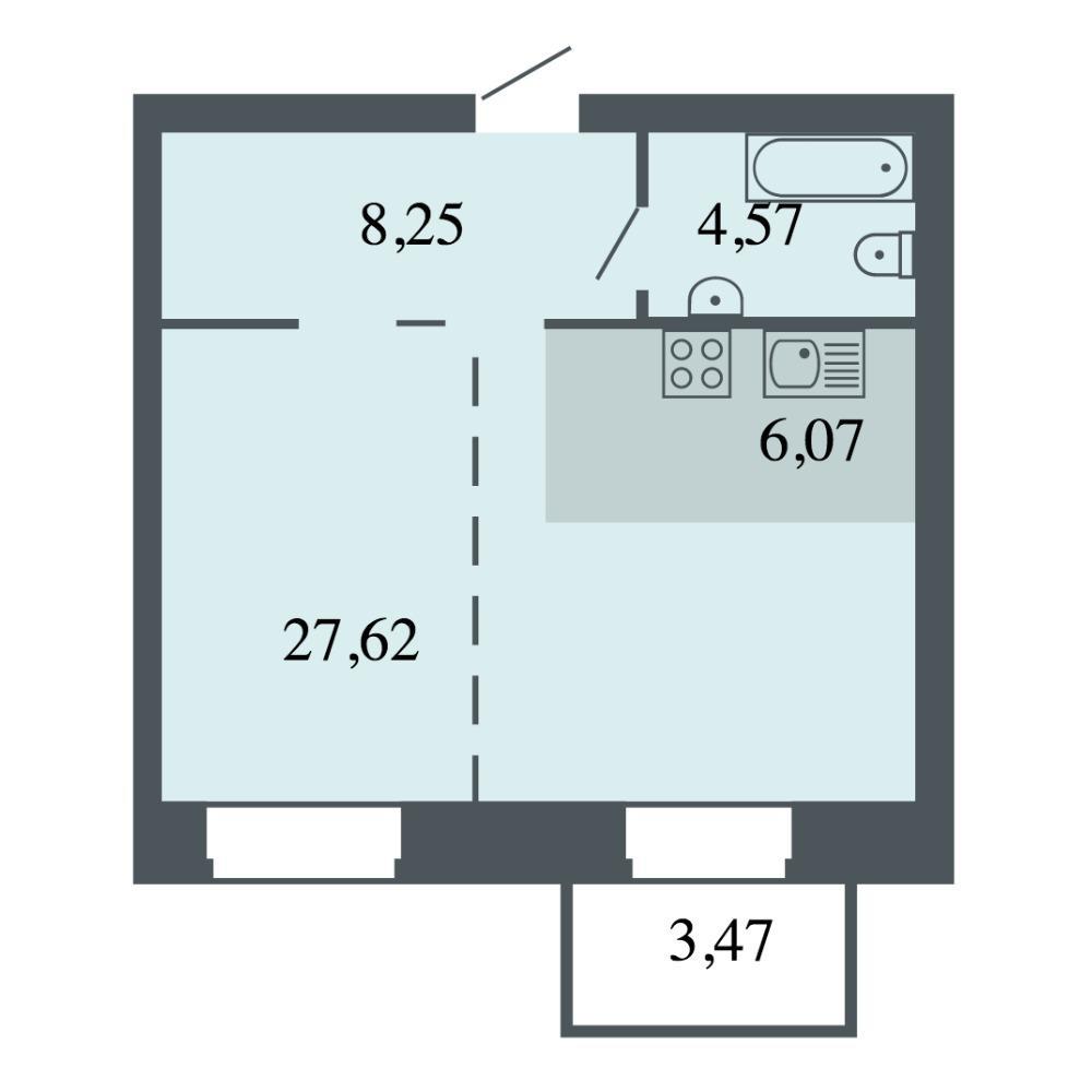 Планировка 2-комн. студия площадью 46.51 м<sup>2</sup> в ЖК Спектр