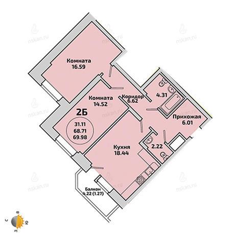 Вариант №1966, 3-комнатная квартира в жилом комплексе Приозерный