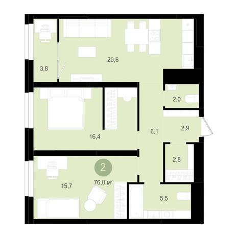 Вариант №3521, 3-комнатная квартира в жилом комплексе Оазис