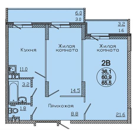 Вариант №3060, 2-комнатная квартира в жилом комплексе
