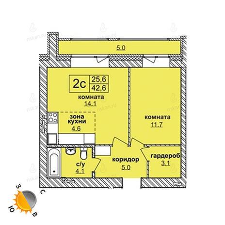 Вариант №1612, 2-комнатная квартира в жилом комплексе Северная корона