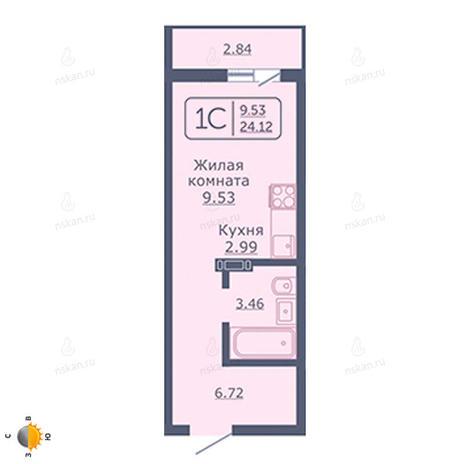 Вариант №2041, 1-комнатная квартира в жилом комплексе