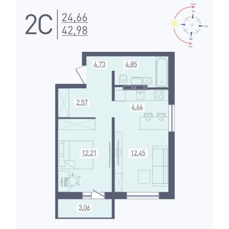 Вариант №5576, 2-комнатная квартира в жилом комплексе