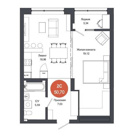 Вариант №4567, 2-комнатная квартира в жилом комплексе Тихомиров