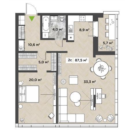 Вариант №5854, 2-комнатная квартира в жилом комплексе