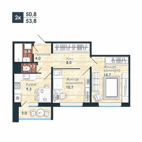 Вариант №5247, 2-комнатная квартира в жилом комплексе Одесса