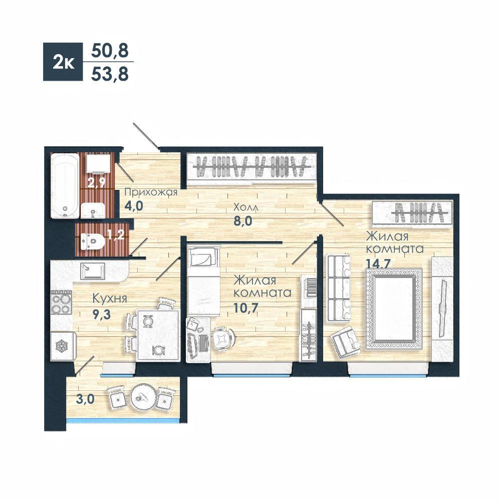 Планировка 2-комнатная площадью 53.8 м<sup>2</sup> в ЖК Чистая Слобода