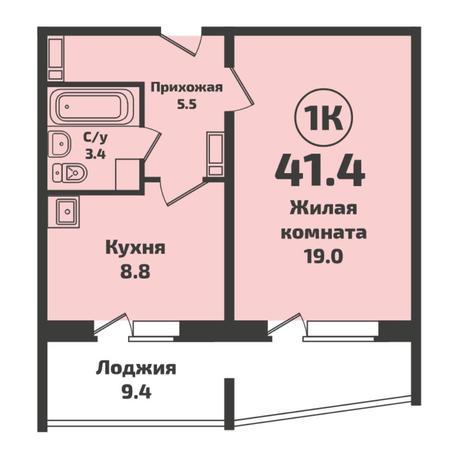 Вариант №5732, 1-комнатная квартира в жилом комплексе