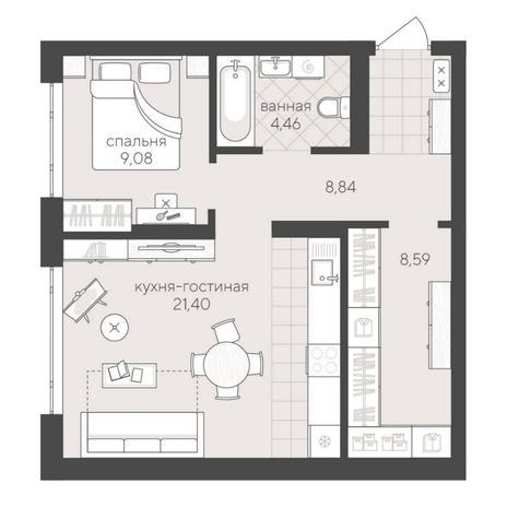 Вариант №6233, 2-комнатная квартира в жилом комплексе