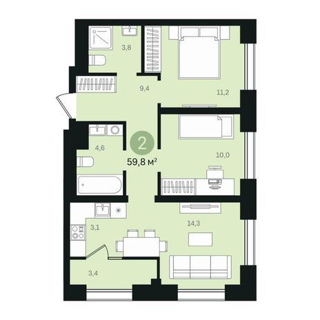 Вариант №6350, 3-комнатная квартира в жилом комплексе