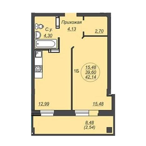 Вариант №4921, 1-комнатная квартира в жилом комплексе
