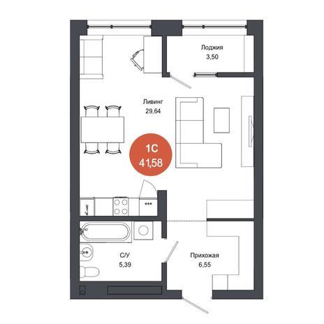 Вариант №4565, 1-комнатная квартира в жилом комплексе
