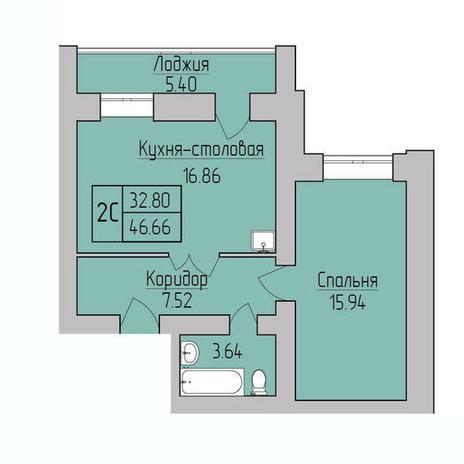 Вариант №3838, 2-комнатная квартира в жилом комплексе