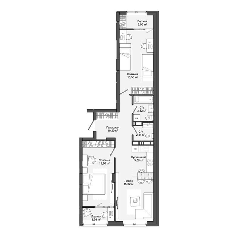 Планировка 3-комн. студия площадью 69.15 м<sup>2</sup> в ЖК Маяк
