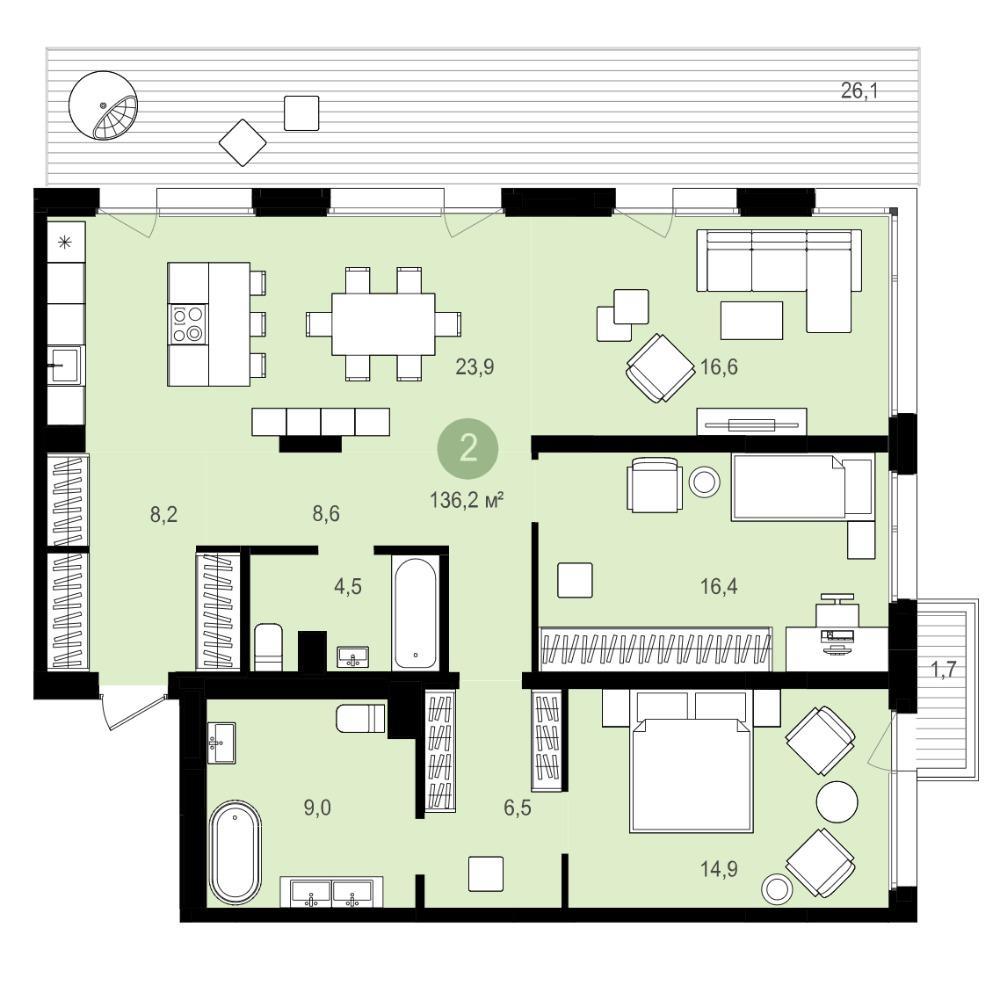 Планировка 4-комн. студия площадью 136.2 м<sup>2</sup> в ЖК Авиатор