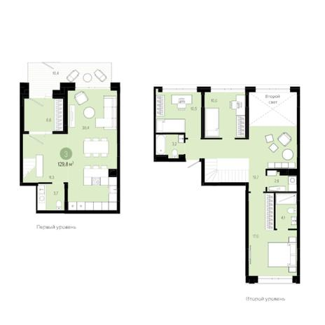 Вариант №6007, 4-комнатная квартира в жилом комплексе