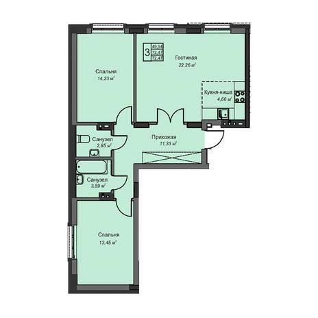 Вариант №3082, 3-комнатная квартира в жилом комплексе Чистая Слобода