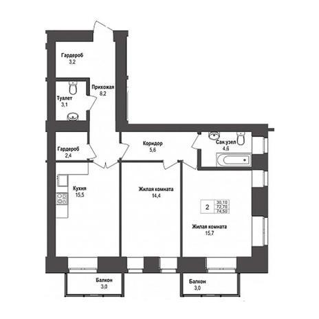Вариант №3140, 2-комнатная квартира в жилом комплексе