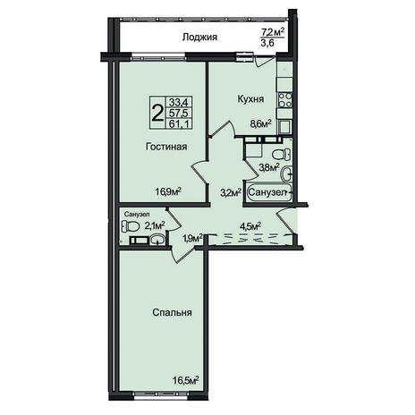 Вариант №3096, 2-комнатная квартира в жилом комплексе Северная корона