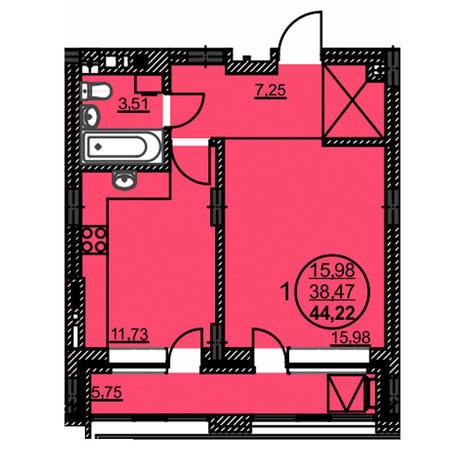 Вариант №3770, 1-комнатная квартира в жилом комплексе Акварельный 3.0