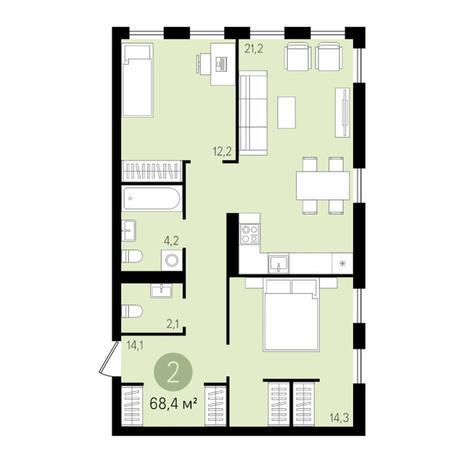 Вариант №2996, 3-комнатная квартира в жилом комплексе Европейский Берег