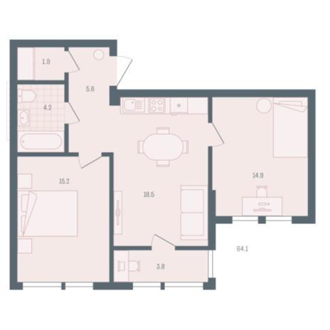 Вариант №5903, 2-комнатная квартира в жилом комплексе