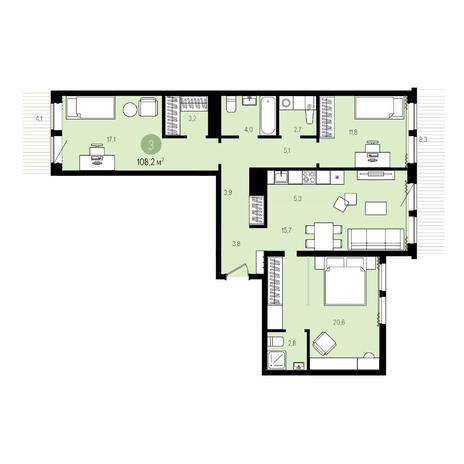 Вариант №5015, 4-комнатная квартира в жилом комплексе Пшеница