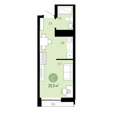 Вариант №6449, 1-комнатная квартира в жилом комплексе