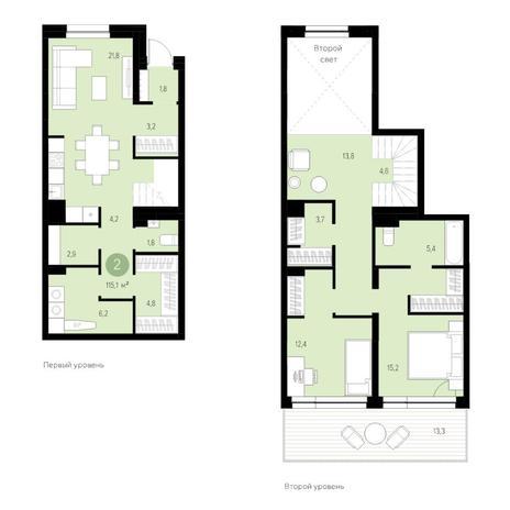 Вариант №4636, 3-комнатная квартира в жилом комплексе