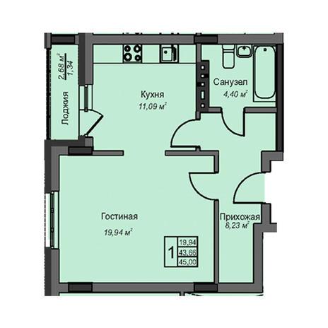 Вариант №3085, 1-комнатная квартира в жилом комплексе Акварельный 3.0