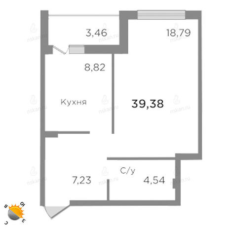 Вариант №1760, 1-комнатная квартира в жилом комплексе
