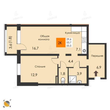 Вариант №2312, 2-комнатная квартира в жилом комплексе