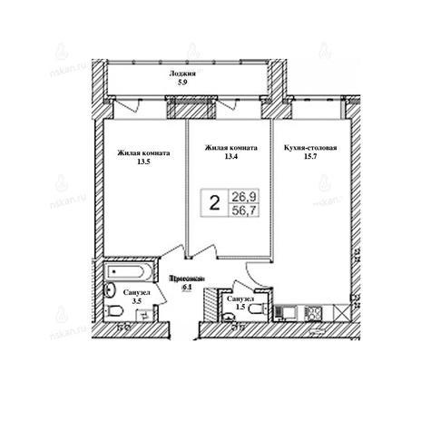 Вариант №2466, 3-комнатная квартира в жилом комплексе