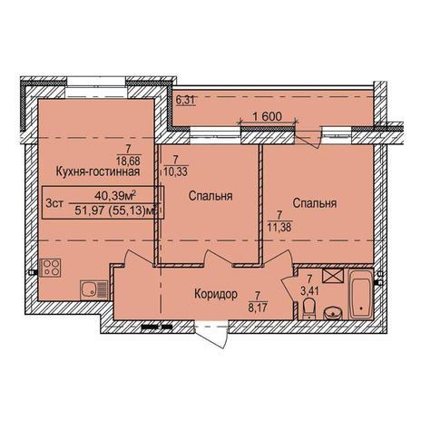 Вариант №3343, 3-комнатная квартира в жилом комплексе
