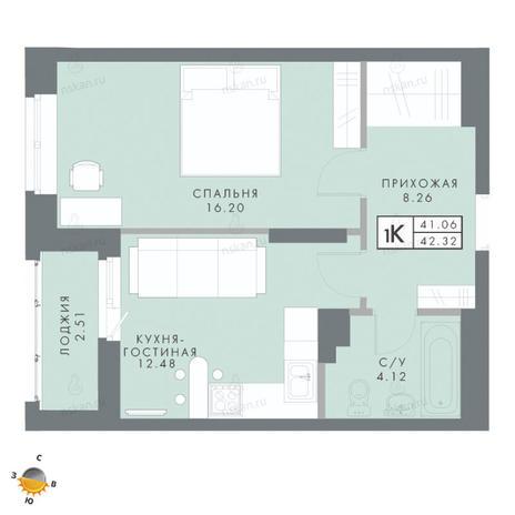 Вариант №2476, 2-комнатная квартира в жилом комплексе Традиции