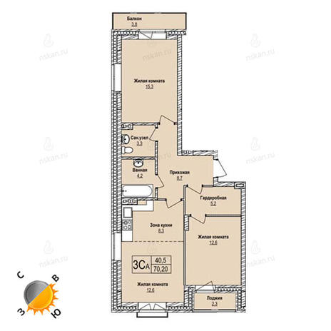 Вариант №1240, 3-комнатная квартира в жилом комплексе