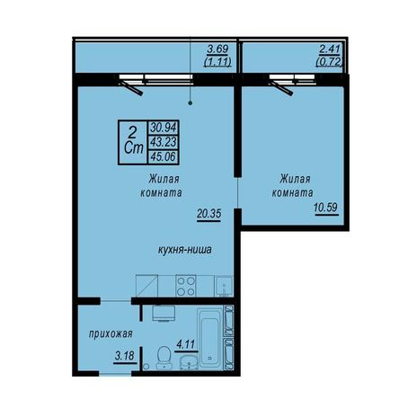 Вариант №4941, 2-комнатная квартира в жилом комплексе