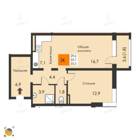 Вариант №2298, 2-комнатная квартира в жилом комплексе
